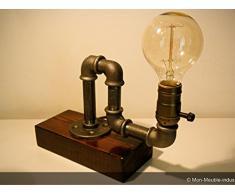 Lampe de table industrielle en tube acier, vintage