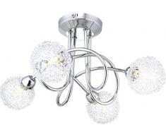 Plafonnier chrome, clair, lacis de boules aluminium, D:8cm, LxLxH:360x360x190, incl. 4xG9 33W 230V