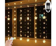 Guirlande Lumineuse extérieur intérieur 2Mx1,5M Guirlandes Lumineuses pile rideau lumineux noel 144 led Etoiles blanc chaud 8 mode lumieres rideaux eclairage decor maison jardin mariage