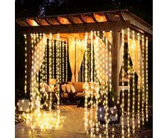 Guirlande Rideau Lumineux, FishOaky Bright Guirlande Lumineuse LED 3m * 3m, 8 Modes, 300 LED, USB Lampe d'ambiance à Lumière,Pour la Décoration Rideaux Fenêtre Terrasse Mariage Fenêtre
