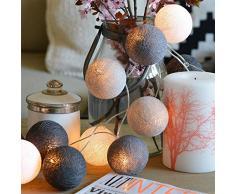 20 LED Balle Boule De Coton 20 LED Balle Boule De Coton Batterie Guirlande Lumineuse Chaine de Lampes Léger Lumière Pour la Fête de Noël Maison Décor (non incluses)