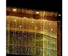 KKGUD LED Guirlande Rideau Lumineux 4M×3M 400 leds avec la Prise Française 8 Modes de Flash pour Décoration Noël / Soirée / Festival/ Mariage, Fête (Blanc Chaud)