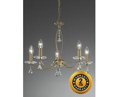 Suspension / plafonnier Monaco, 5 éclairages, bronze, cristal et gouttes à facettes