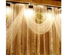 Einsgut Rideau Lumineux LED Guirlande Lumineuse étoiles de 3x3m IP67, avec 8 modèles d'éclairage pour la décoration de fêtes, Noël, décoration de fêtes, éclairage intérieur