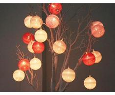 Guirlande Lumineuse Boule, Morbuy Lumineuse Cosy Boules Coton 10 LED Batterie Éclairage Matériau Durable En PVC 6cm balle Ficelle Lumière Couleur Décoration Pour La Saint Valentin Noël Fêtes Mariage d'autres Fêtes Ou Occasions