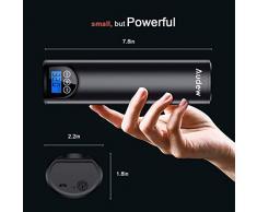 Audew Mini Compresseur d'air Électrique, Pompe de Pneu De Voiture, avec LED Écran LED Lampe Prise USB 12V 150PSI Rechargeable pour Vélo/Voiture/Jouet Gonflable