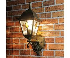 Rustique Applique murale en antikgold avec LED 230 V 1 x 12 W E27 Lampe murale en aluminium et verre pour jardin/terrasse jardin voie terrasse Ampoules Lampe éclairage extérieur