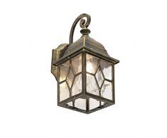 QAZQA Rustique Applique Murale dextérieur romantique bronze - Londres Aluminium/verre Bronze Cube/Carré E27 Max. 1 x 60 Watt/Jardin/Luminaire/Lumiere/Éclairage