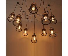 BAYCHEER Suspension Luminaire Réglable Suspension-Style Moderne Lampshade Fer Pendante Lampe Plafonnier 6 culot E27 Douille