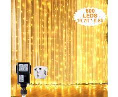 Guirlandes Lumineuses Rideau, Rideau Lumineux 6m*3m 600 Leds, Etanche IP44, Decoration de Fenêtre, Noël, Mariage, Anniversaire, Maison, Patio etc (Blanc Chaud)