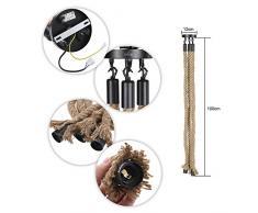 Tomshine 3 têtes de corde chanvre douille vintage Rétro Lampe Suspension en Corde lampe industrielle pour Restaurant Bar Cafe décoration intérieure ( Trois douilles, sans ampoule)