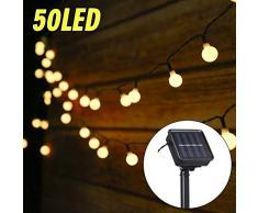 Guirlande Lumineuse Solaire, Tomshine 50 Petites Boule LED, 8 Modes Eclairage, Étanche IP44, 6.9M Fil Souple, Décoration Intérieur et Extérieur (Blanc Chaud)