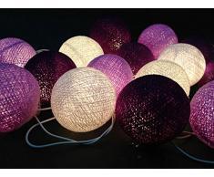Tissu ball batterie violet boule guirlande lumineuse
