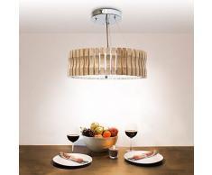 Relaxdays Plafonnier Lampe de Plafond à Suspendre Éclairage Luminaire H 14cm diamètre 45cm, Bois, Beige