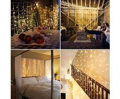 SALCAR Guirlande Lumineuse à LED 3 m x 3 m IP44 étanche étoiles LED Rideau Lumineux pour Noël, fêtes, intérieur, 8 programmes de Changement de lumière (Blanc Chaud)