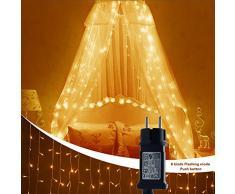 FLY5D Rideau Lumineux à LED, Rideau Guirlandes, 300 LED, 3M * 3M, 8 Modes, Lumière Blanche Chaude, Avec Adaptateur Secteur, Convient à la Décoration Intérieure, Extérieure et De Fête