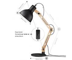 Tomons Décoration Lampe de Table Lampe de Bureau Salon Design Original Lampe en Bois Architecte Moderne Réglable Luminaire Industrielle à Poser, Noire