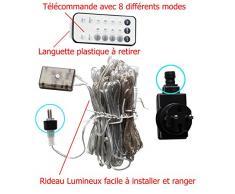 Nouveauté 2018 Rideau Lumineux 300 LED 3Mx3M, LED incrusté au fil, plus sur et facile à installer.