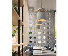 yjlight Suspension Suspension éclairage lampe moderne Ciment béton en métal corde chanvre Deco Fer à Repasser Lustre Lampe réglable en hauteur pour salon Restaurants Cave Bars Salon E27