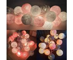 Suszian Lumières de Boule de Coton guirlandes Lumineuses, LED Guirlande Lumineuse de Boule de Coton guirlandes extérieures lumière de Mariage noël Chambre Chambre guirlandes lumières de noël Parti