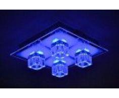 Plafonnier LED 4 spots changement de couleur et télécommande