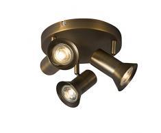 QAZQA Moderne Plafonnier spot de plafond bronze rotatif et inclinable - Karin 3 Métal Bronze Rond GU10 Max. 3 x 35 Watt/Luminaire/Lumiere/Éclairage/intérieur/Salon/Cuisine