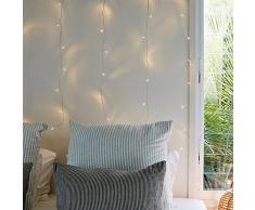 Lights4fun Rideau Lumineux 2m x 1m avec 40 LED Blanc Chaud pour Intérieur