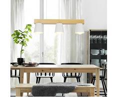 ztleuchte moderne Nordic Suspension Leuchten élégant lustre bois Metallo blanche abat-jour vintage Hauteur réglable Lumière décorative Fur Café Party Bar Salle à manger E27 × 3, Ø 70 cm