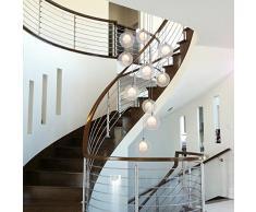 Escalier lustres boule de verre multi lumières moderne salon créatif pendentif lumière villa plafonnier duplex appartement spirale escaliers long lustre, 40 * 200cm (Couleur : Clair)