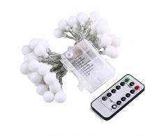 lederTEK guirlande lumineuse à pile avec télécommande en forme de boule crème 5.3M 50 LED 8 modes guirlande led idéal pour extérieur, intérieur, jardin, Accueil, Mariage, Arbre de Noël, fête (Blanc chaud)