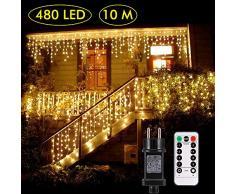 B-right Rideau Lumineux, 10M*0.8M, 480 LEDS, Blanc Chaud, Avec Télécommande, 8 Modes Déclairage, Résistant à leau, Rideau Lumineux LED pour Fête, Jardin, Chambre, Bar, Noël, Mariage, etc.