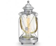 Eglo 49284 Lampe de table, Différents matériaux, Argent
