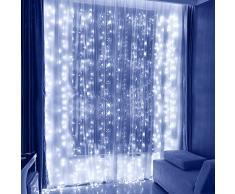LED Guirlande Lumineuses Rideau, Speclux 3mx3m 300 LED Rideau Lumineux IP44 étanche, 8 mode Lumières Décoratives pour intérieur et extérieur, Maison, Jardin, Fête, Noël, Mariage, Anniversaire (Blanc)