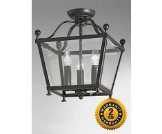 Plafonnier lanterne Atrio, bronze antique rehaussé d'or, verre, 3 éclairages