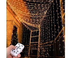 Rideau Lumineux, Tomshine Guirlandes Lumineuses 300 LED 3m*3m, IP65 Etanche, 8 Modes et Minuterie par Télécommande, Alimenté USB pour Décoration Noël Mariage Anniversaire Balcon Terrasse Chambre