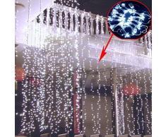 KKgud LED Guirlande Rideau Lumineux 3M×3M 300 leds avec la Prise Française 8 Modes de Flash pour Décoration Noël / Soirée / Festival/ Mariage, Fête (Blanc)
