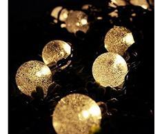 Uping Guirlande Lumineuse Boule LED Solaire 30 Ampoules 6,5 Mètres Etanche Décoration Intérieur/Extérieur pour Jardin Noël Mariage Cérémonie(Blanche chaude)