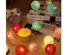 ELINKUME Boule Guirlande Lumineuse Corde Multicolore Boule de Lanterne 20LED Boule de Laine 3.3M Lumière datmosphère Décoration de Fête/Intérieure