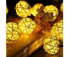 KINGCOO® 16.4 ft 20 LED Guirlande Lumineuse Boule Rotin Lampe à énergie solaire Globe lumineux de Noël extérieur étanche pour jardin décoration maison mariage fête de Noël (Blanc chaud)