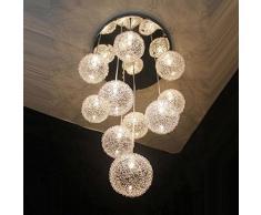 35,6 cm Câble en aluminium de 10 lampes boules en verre Parlor plafond Pendentif lumière moderne Escalier Design Salon Cuisine Salle à manger Plafonnier