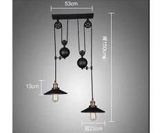 lustre vintage suspension,lustre vintage industriel, COCOL Bar E27 Lampe à Suspension, Lustre Industriel en Métal, Suspension Style Roue avec Wave Retro Réglable-Noir (Color : Double tête)