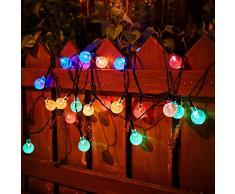 Guirlande lumineuse solaire en forme de boule de cristal 6m de long 30 LEDs lampe solaire de 2 modes Lampe Noël décorative pour extérieure, jardin, maison, mariage, terrasse (Multi-couleur) [Classe énergétique A++]