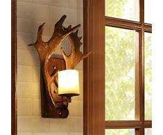 Applique murale bois de cerf intérieur lampe E14 couloir raphia murale bois de résine Ampoule vintage look Industrial Applique murale Style maison de campagne rustique lumière éclairage mural Lampadaires Éclairage mural poutres