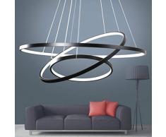 Moderne LED Lustre Table à manger 76W LED 3 anneau LED Dimmable Contrôle à distance Lampe suspendue Salon Plafonnier Chambre à coucher Suspension à hauteur réglable Lustre 60/40 / 20cm (Noir)