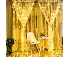 BLOOMWIN Rideau Lumineux 8 Modes avec Télécommande 6V Basse Pression 6M*3M IP67 600 LEDs Romantique Extérieur/Intérieur Lumineuses avec Crochets pour Décoration Noël Mariage Maison Jardin Blanc Chaud