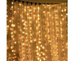 BLOOMWIN Rideau lumineux, LED 6mx3m 600leds 55W 8 Mode Festival Guirlande Lumineuse Parfait Pour Rideau Fenêtre Décoration de Noël/Mariage/Jardin/Nouvel An/Halloween (Blanc Chaud)