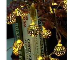 lederTEK guirlande lumineuse led à pile en forme de boule marocaine 3.3M 30 LED pour le Noël, la maison, jardin, patio, pelouse, fête et vacances (blanc chaud)