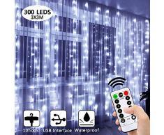 Guirlande Lumineuse, 300 LEDs Rideau Lumineux 8 Modes de Fonctionnement pour Décoration Etanche Eclairage Décoration Intérieur et Extérieur pour Fenêtre,Mariage,Anniversaire,Maison,Jardin