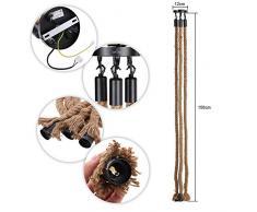 Tomshine 3 têtes de corde chanvre douille vintage 1.5M Lampe Suspension en Corde lampe industrielle pour Restaurant Bar Cafe décoration intérieure AC 220-240V ( Trois douilles, sans ampoule)