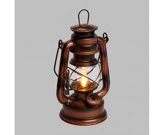 LuminalPark Lanterne Old Style Color cuivre Antique à Batterie, H 19cm, LED Ambre
